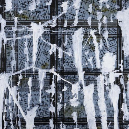 GUILLERMO PANEQUE. Security Sterotypes, nº 29, Técnica mixta sobre tela. 1988. Colección Galerie Vavin-Raspail, París