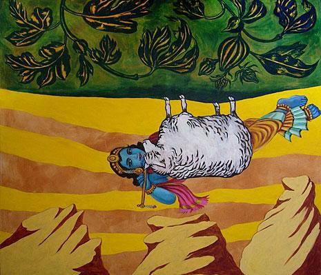 ENCUENTRO EN EL DESIERTO. Acrílico y óleo sobre tela, 2006. 180 x 200 cms