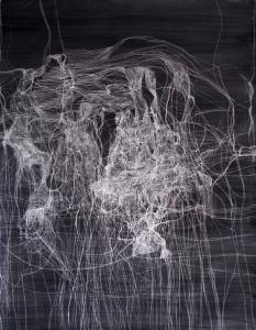 Ruth Morán. Nudos y chispazos.Técnia mixta.152x120 cm.