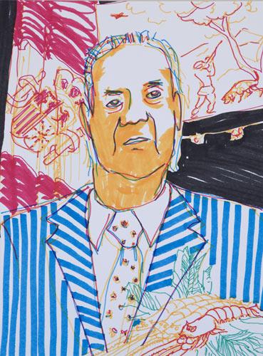Navidad del 2007. Rotulador sobre papel, de la seríe, Mepaso el día pensando en tí, 40x30cm. 2007