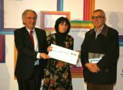 Julie Rivera en la entrega del premio del XLIV Certamen de Artes Plásticas de Cajasol