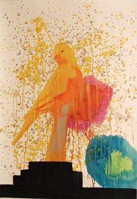 Miki Leal. El pájaro solitario. 100 x 70 cm., acrílico y acuarela / papel. 2008