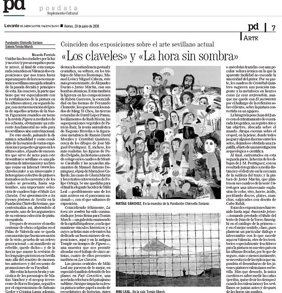 Levante. POSDATA·Suplemento Cultural. Viernes, 20 de junio de 2008