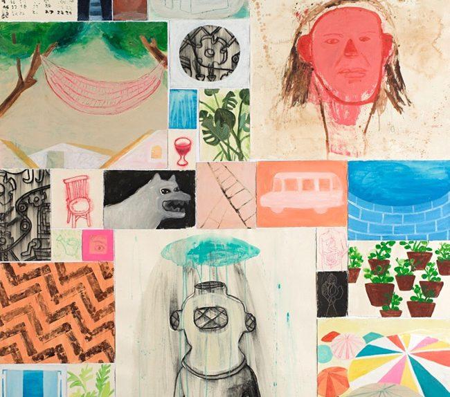 Cartas al faro. Acrílico, acuarela y carbón sobre papel. 177x172 cm. 2008