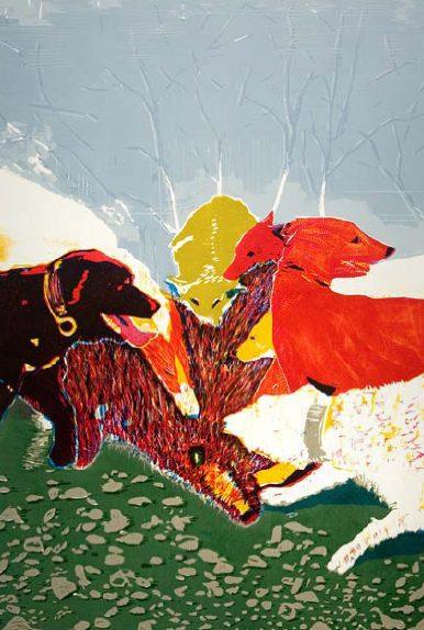 El guardian entre el centeno (La caza), 2009. Xilografía, 80 x 122 cm.