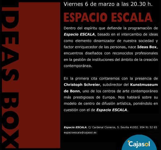 Espacio ESCALA presenta Ideas Box, con la presencia de Christoph Schreier, subdirector del Kunstmuseum de Bonn
