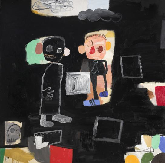 """Matías Sánchez: El Galerista en el Estudio, 2009, Oil on linen, 79"""" x 79"""""""