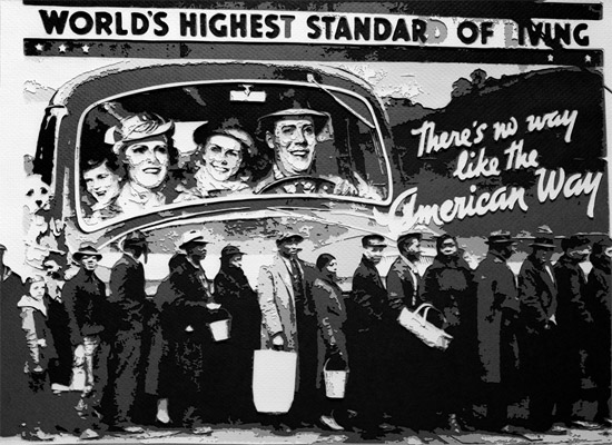 Vik Muniz: Bread line during the Louisville flood, Kentucky, 1937,after Margaret Bourke-White. 2008.