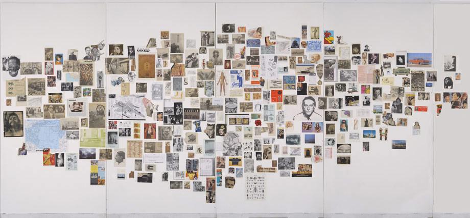 RICARDO CADENAS. Nubes de imágenes, 2003. 245,5 x 520 cm. Composición a base de obra sobre papel