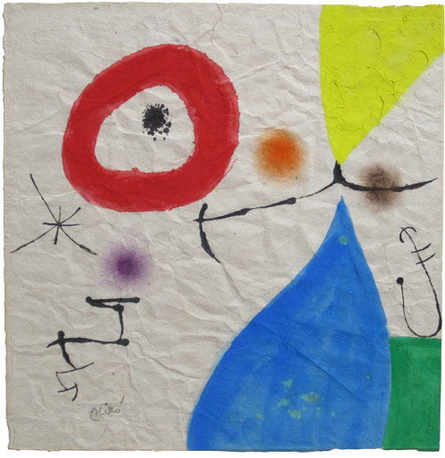 Galería Joan Oliver -Maneu- – Palma de Mallorca (España) Programa General Joan Miró - Sin Titulo Técnica mixta sobre papel 40,5 x 40,5 cm. 1974